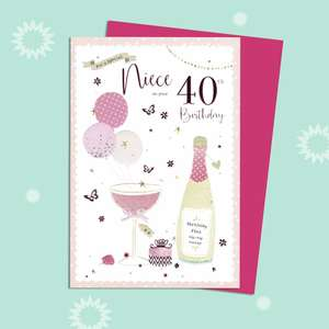 Niece Age 40 Birthday Card Alongside Its Magenta Envelope