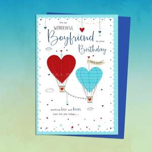 Boyfriend Birthday Card Featuring Two Love Heart Balloons