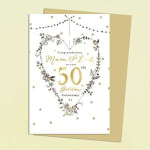 Mum & Dad 50th Golden Anniversary Card Featuring A Heart Made Out Of Gold Flowers