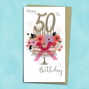 Happy 50th Birthday Cake Themed Card Alongside Its Gold Envelope