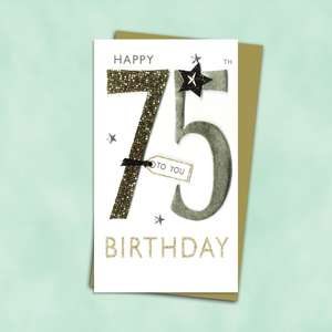 75th Birthday Card Alongside Its Gold Envelope