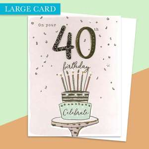 Age 40 Large Card Alongside Its White Envelope
