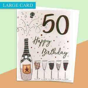 Age 50 Large Card Alongside Its White Envelope