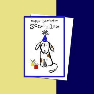 Pizazz Son In Law Dog Themed Birthday Card Sitting On A Display Shelf