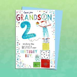Grandson Age 2 Birthday Card Sitting On A Display Shelf