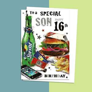 Son Age 16 Birthday Card Alongside Its White Envelope