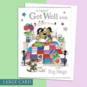 Get Well Soon Large Card Alongside Its White Envelope