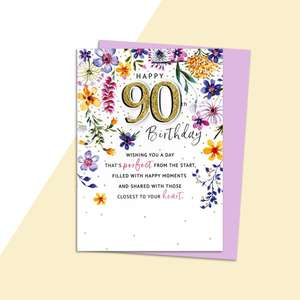 Age 90 Birthday Card Alongside Its Lilac Envelope