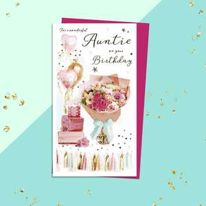 Auntie Slice Of Cake Card Sitting On The Shelf
