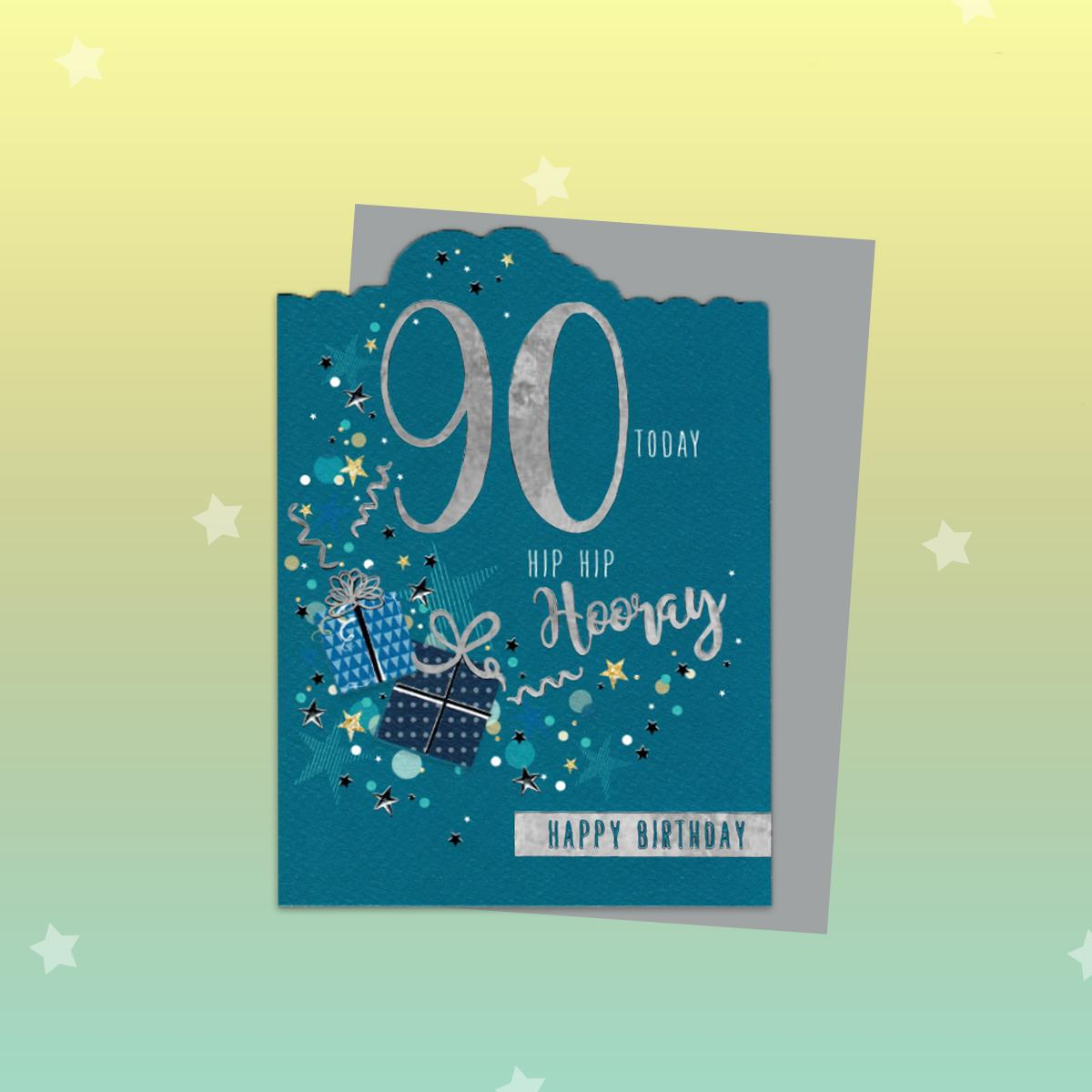90th Hip Hip Hooray Birthday Card Alongside Its Envelope