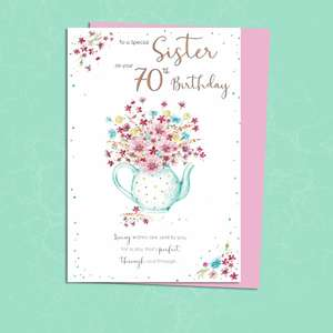 Sister Age 70 Birthday Card Alongside Its Envelope