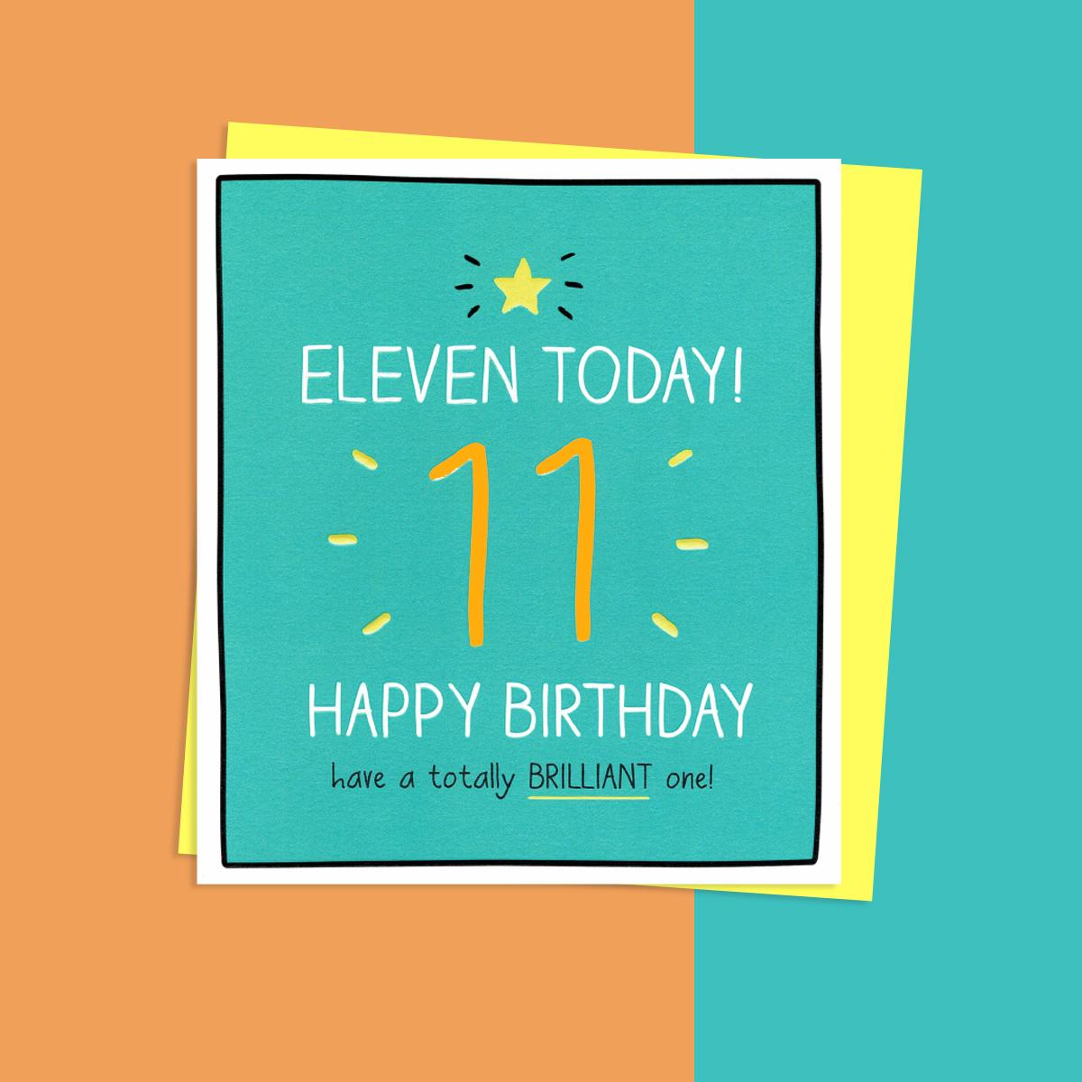 Eleven Today Birthday Card Alongside Its Yellow Envelope