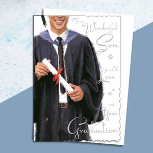 Son Graduation Card Alongside Its White Envelope