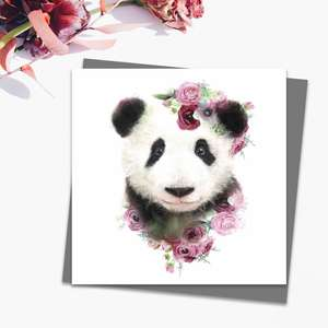 Floral Panda Cub Blank Card Alongside Its Dark Grey Envelope