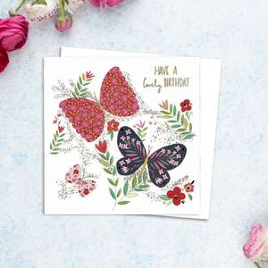 Birthday Butterfly Greeting Card Alongside Its White Envelope