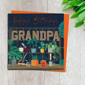 Grandpa Birthday Card Design Complete With Neon Orange Envelope