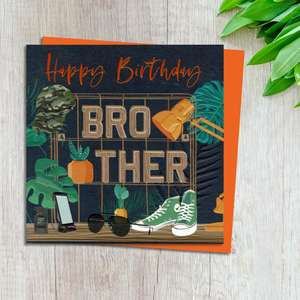 Brother Birthday Card Design Complete With Neon Orange Envelope
