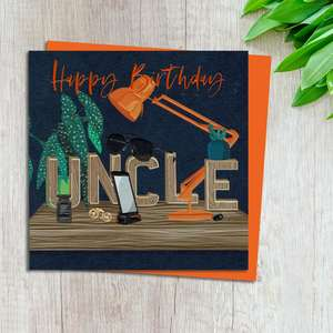 Uncle Birthday Card Design Complete With Neon orange Envelope
