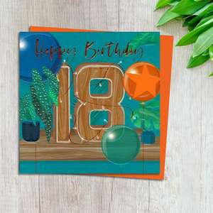 Age 18 Birthday Card Complete With Neon Orange Envelope