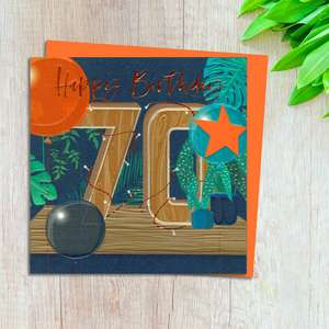 Age 70 Birthday Card Design Complete With Neon Orange Envelope