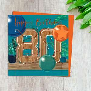 Age 80 Birthday Card Design Complete With Neon Orange Envelope