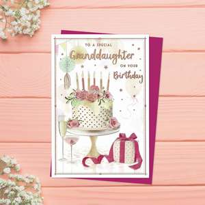 Granddaughter Birthday Cake Birthday Card Sat On Display Shelf