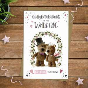 Barley Bear Wedding Day Greeting Card Alongside Its Kraft Envelope