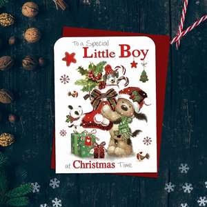To A Special Little Boy At Christmas Time Featuring a Cute Dog And Animal Friends With A Large Christmas Stocking! Finished With Red Foil Lettering, Red Glitter Detail And Red Envelope