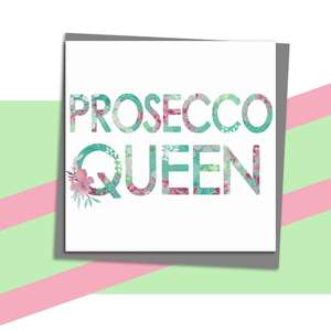 Prosecco Themed Greeting Card Alongside Its Dark Grey Envelope