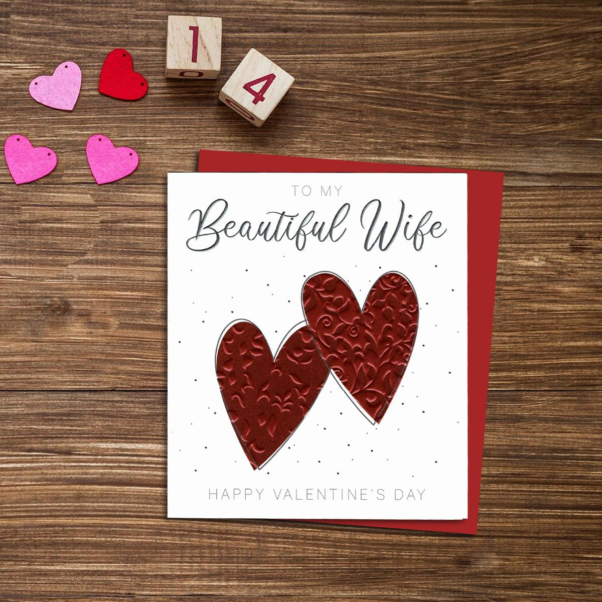 Beautiful Wife Valentines Day Card Alongside Its Red Envelope