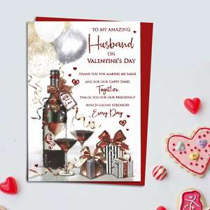 Husband Red Wine Valentine's Day Card Alongside Its Red Envelope
