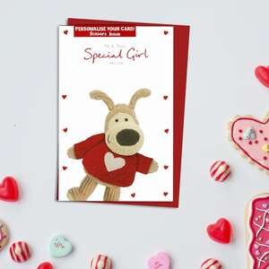 Special Girl Valentine's Day Card Alongside Its Red Envelope