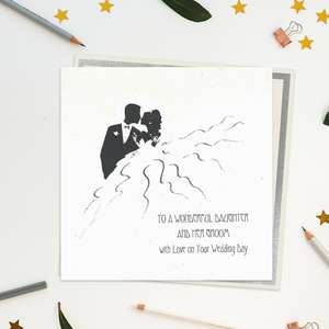 Stunning, Luxury, Handcrafted Wedding Day Card For A Wonderful Daughter And Her Groom. Showing A Couple In Silhouette With Added Gem Enhancement And Biodegradable Glitter Accents. Blank inside For Own Message. Warm White Envelope With Silver Border.