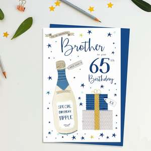 Brother Age 65 Birthday Card Alongside Its Blue Envelope