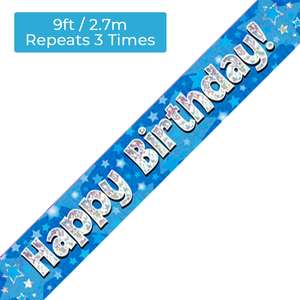 Happy Birthday Blue Banners Alongside Its Dimensions