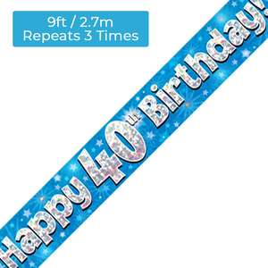 Age 40 Blue And Silver Holographic Party Banner Displayed