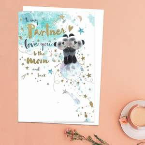To My Partner Love You To The Moon And Back Birthday Card Featuring Two Cute Pandas Hugging. With Added Gold Foil Detail And White Envelope