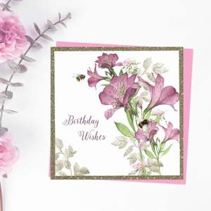 Beautiful Bees And Purple Alstromeria Flowers On This Square Birthday Card. With Added Sparkle And Cerise Envelope