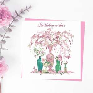 Birthday Wishes Square Card Featuring Vases Of Beautiful Pink Flowers. With Added Sparkle And Pink Envelope