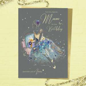 'Just For You Mum On Your Birthday' larger card from the 'Grace' range. Beautiful Lady in A Blue And Gold Dress. Added Sparkle And Gold Foil Detail. Printed Insert With Colour Image And Heartfelt Verse. Complete With Gold Colour Envelope