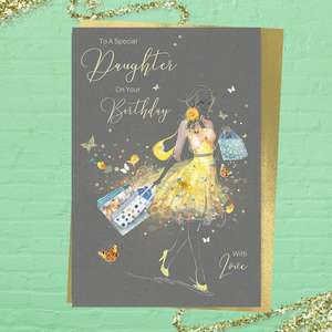 Special Daughter Birthday Card Alongside Its Gold Envelope