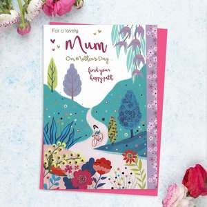 'For A Lovely Mum On Mother's Day ...find your happy path' Features A Woman Cycling In The Country. With Added Pink Foil Detail And Bright Pink Envelope