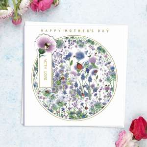' Happy Mother's Day With Love' Featuring Layers Of Lilac And White Flowers With Ladybirds And Bees. With Added Gold Foil Detail And White Envelope