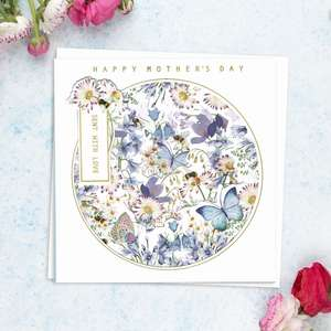 ' Happy Mother's Day Sent With love' Featuring Layers Of Blue And White Flowers. With Added Gold Foil Detail And White Envelope
