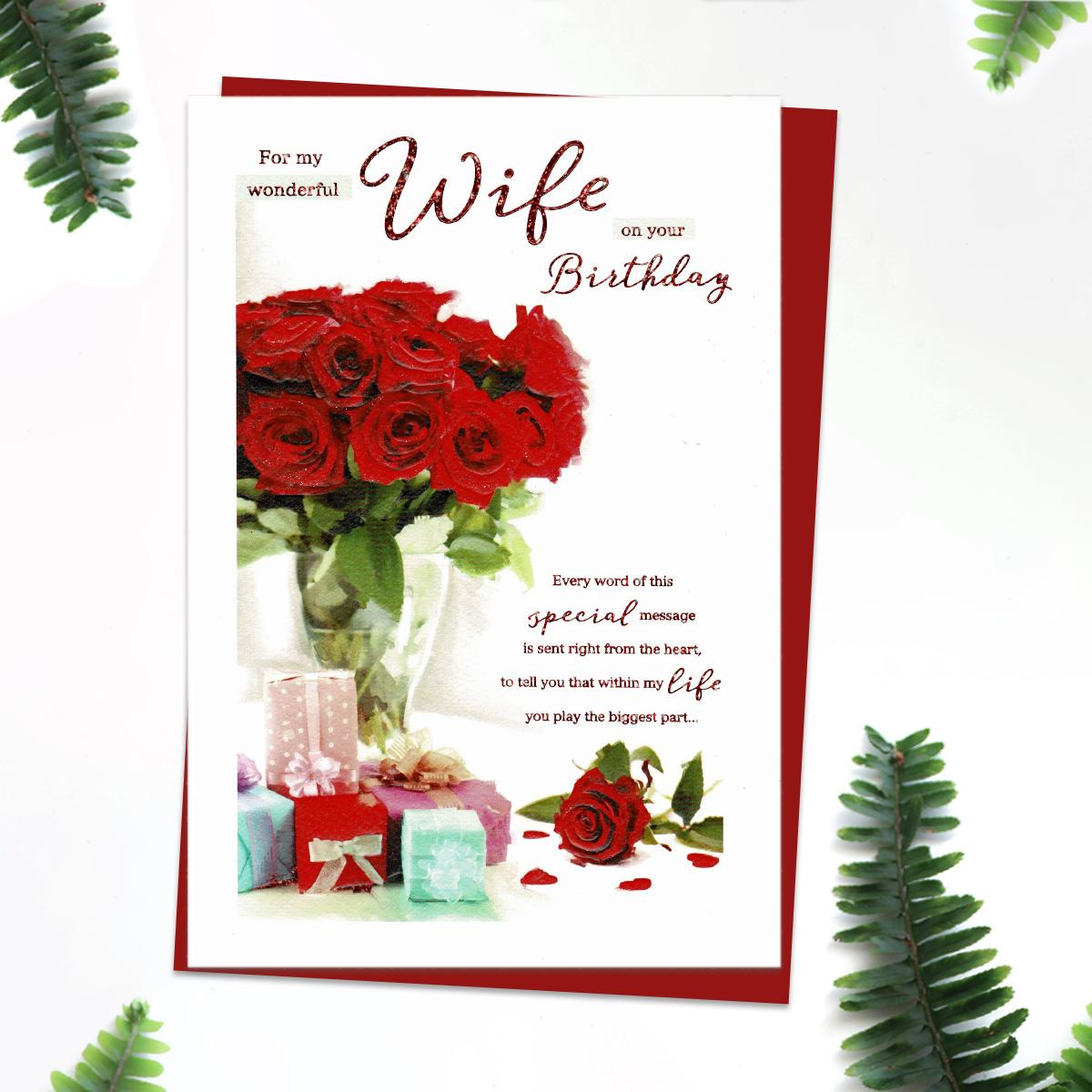 'For My Wonderful Wife On Your Birthday' Featuring Red Roses And Gifts. Complete With red Envelope