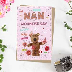 ' For A Very Special Nan On Mother's Day' Card Featuring Barley Bear! Complete With Silver Foiling Detail And Brown Envelope