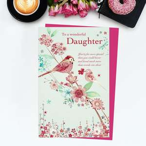 ' To A Wonderful Daughter' Birthday Card Featuring Beautiful Pink Birds On A Branch of Blossom. With Added Gold Foil Detail And Cerise Envelope
