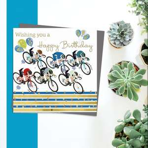 ' Wishing You A Happy Birthday' Card From Rush Design Featuring Multiple Cyclists With Balloons. Blank Inside For Own Message And Complete With Grey Envelope