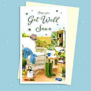Get Well Soon Card Displayed With Its White Envelope