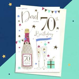 Dad Age 70 Birthday Card Alongside Its White Envelope